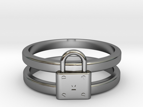 Padlock Double-banded Ring in Fine Detail Polished Silver