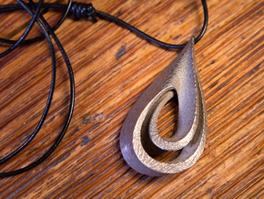 Drop Pendant in Polished Bronzed Silver Steel