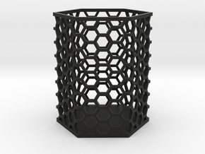 Large Honeycomb Pen Holder in Black Natural Versatile Plastic