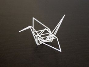 Wireframe Origami Crane in White Strong & Flexible