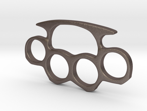 Brass Knuckles Miniature in Polished Bronzed Silver Steel
