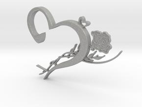 Heart & Rose Necklace Pendant in Aluminum