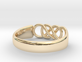 Double Infinity Ring 15.3mm Size4-0.5 in 14k Gold Plated Brass
