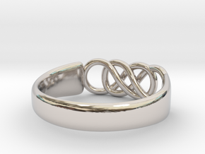 Double Infinity Ring 15.3mm Size4-0.5 in Rhodium Plated Brass