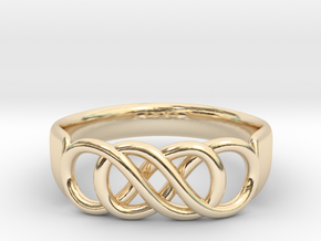Double Infinity Ring 15.7 mm Size 5 in 14K Yellow Gold