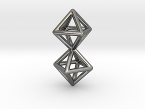 Twin Octahedron Frame Pendant in Fine Detail Polished Silver