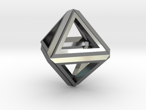 Octahedron Frame Pendant V1 in Fine Detail Polished Silver