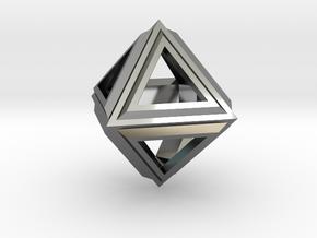 Octahedron Frame Pendant V2 in Fine Detail Polished Silver