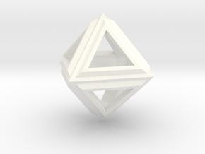Octahedron Frame Pendant V2 in White Processed Versatile Plastic