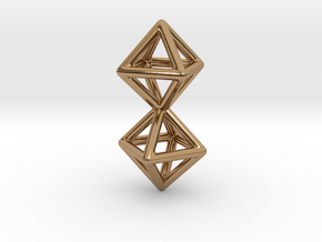 Twin Octahedron Frame Pendant in Polished Brass