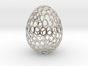 Honeycomb - Decorative Egg - 2.3 inch in Rhodium Plated Brass
