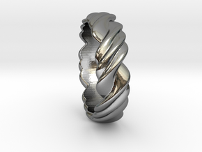Ring 3 twist Size 17 mm  (us= 7) in Fine Detail Polished Silver