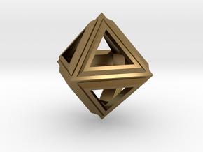 Octahedron Frame Pendant V2 Small in Polished Bronze