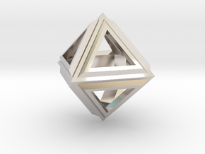 Octahedron Frame Pendant V2 Small in Rhodium Plated Brass