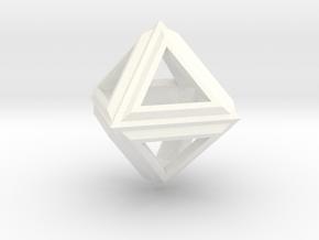 Octahedron Frame Pendant V2 Small in White Processed Versatile Plastic