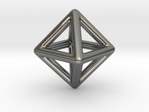 Minimal Octahedron Frame Pendant Small in Fine Detail Polished Silver