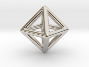 Minimal Octahedron Frame Pendant Small in Platinum