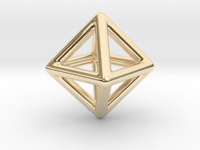 Minimal Octahedron Frame Pendant Small in 14k Gold Plated Brass