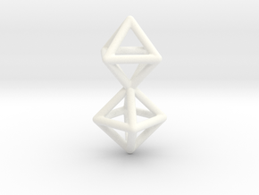 Twin Octahedron Frame Pendant Small in White Processed Versatile Plastic