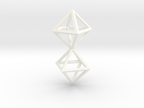 Faceted Twin Octahedron Frame Pendant in White Processed Versatile Plastic