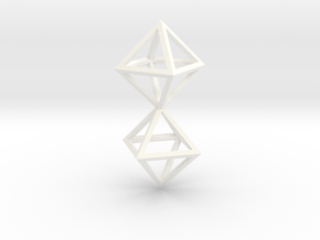 Faceted Twin Octahedron Frame Pendant Small in White Processed Versatile Plastic