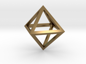 Faceted Minimal Octahedron Frame Pendant Small in Polished Bronze