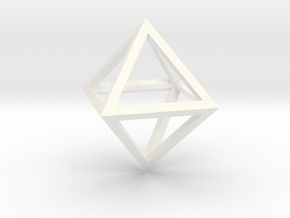 Faceted Minimal Octahedron Frame Pendant Small in White Processed Versatile Plastic