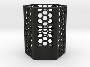 Large Honeycomb Pen Holder (Ver.2) in Black Strong & Flexible
