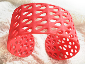 Bracelet, Generative Pattern, size M in Red Strong & Flexible Polished