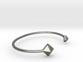 Cuff Bracelet with Geometric Pyramids in Fine Detail Polished Silver