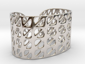 Bracelet, Generative Pattern, size M in Rhodium Plated Brass
