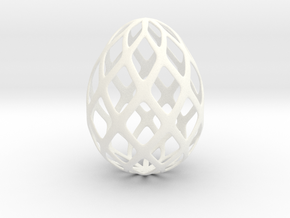 Trellis - Decorative Egg - 2.3 inches in White Processed Versatile Plastic
