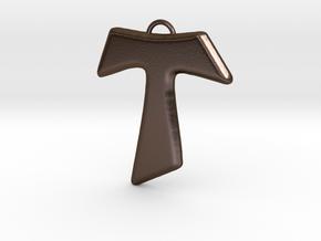 Tau Cross Pendant in Polished Bronze Steel