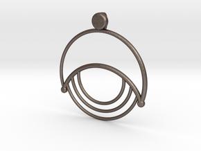 Modern Moon Pendant in Polished Bronzed Silver Steel