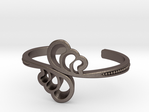 Wave Cuff Bracelet in Polished Bronzed Silver Steel