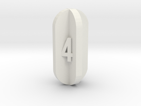 Radial Fin Dice in White Natural Versatile Plastic: d4