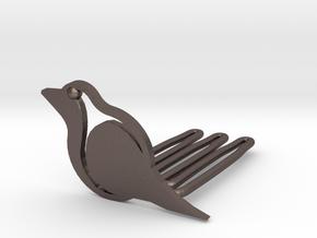 Robin for beard - front wearing in Polished Bronzed Silver Steel