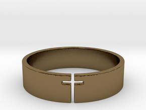 Cross Ring Size 10 in Polished Bronze