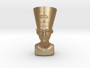 Original Egyptian Queen Nefertiti bust 3D scanned. in Matte Gold Steel