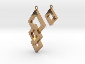 Three Squares Earrings - Asymmetrical in Polished Brass
