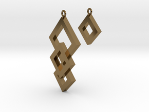 Three Squares Earrings - Asymmetrical in Polished Bronze