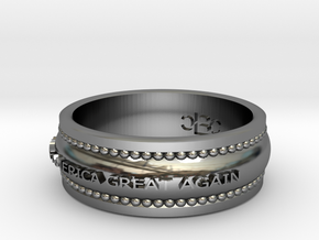 Size 7 Make America Great Again Ring in Fine Detail Polished Silver