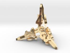 'Radial' D4 balanced gaming die in 14k Gold Plated Brass