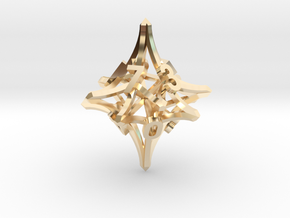 'Radial' D10 balanced gaming die in 14k Gold Plated Brass