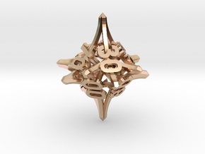 'Radial' 10D10 balanced gaming die (percentile d10 in 14k Rose Gold Plated Brass