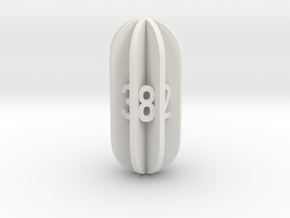 Radial Fin Dice in White Natural Versatile Plastic: d8