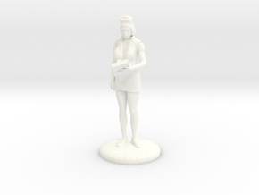 Head Nurse with Clipboard - 27mm  in White Strong & Flexible Polished