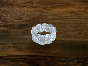 Turk's Head Knot Ring 5 Part X 9 Bight - Size 8 in White Natural Versatile Plastic