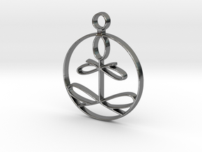 Yoga Glee Pendant with larger chain loop in Fine Detail Polished Silver