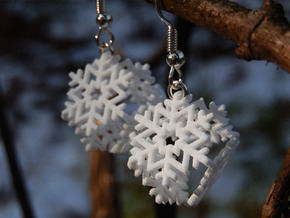 Snowflake Earrings 3 in White Natural Versatile Plastic